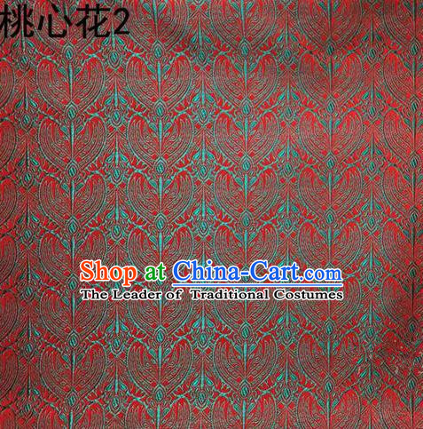 Traditional Asian Chinese Handmade Embroidery Blue Peach Hearts Flowers Satin Tang Suit Red Silk Fabric, Top Grade Nanjing Brocade Ancient Costume Hanfu Clothing Cheongsam Cloth Material