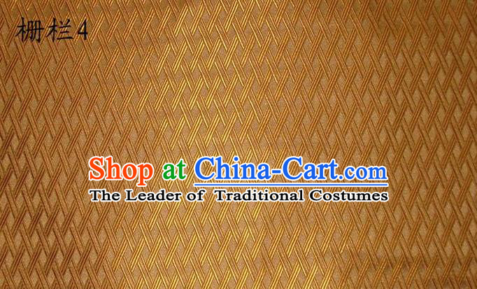 Traditional Asian Chinese Handmade Embroidery Fence Pattern Satin Tang Suit Golden Silk Fabric, Top Grade Nanjing Brocade Ancient Costume Hanfu Clothing Cheongsam Cloth Material