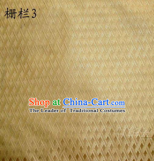 Traditional Asian Chinese Handmade Embroidery Fence Pattern Satin Tang Suit Light Golden Silk Fabric, Top Grade Nanjing Brocade Ancient Costume Hanfu Clothing Cheongsam Cloth Material