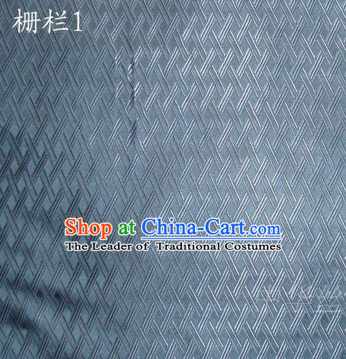 Traditional Asian Chinese Handmade Embroidery Fence Pattern Satin Tang Suit Blue Silk Fabric, Top Grade Nanjing Brocade Ancient Costume Hanfu Clothing Cheongsam Cloth Material