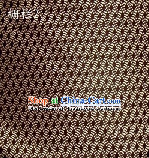 Traditional Asian Chinese Handmade Embroidery Fence Pattern Satin Tang Suit Brown Silk Fabric, Top Grade Nanjing Brocade Ancient Costume Hanfu Clothing Cheongsam Cloth Material