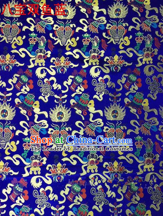 Traditional Asian Chinese Handmade Embroidery Hylotelephium Fishes Satin Xiuhe Suit Royalblue Silk Fabric, Top Grade Nanjing Brocade Ancient Costume Hanfu Clothing Cheongsam Cloth Material