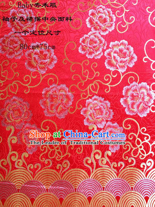 Traditional Asian Chinese Handmade Embroidery Peony Satin Wedding Xiuhe Suit Red Silk Fabric, Top Grade Nanjing Brocade Ancient Costume Hanfu Clothing Cheongsam Cloth Material