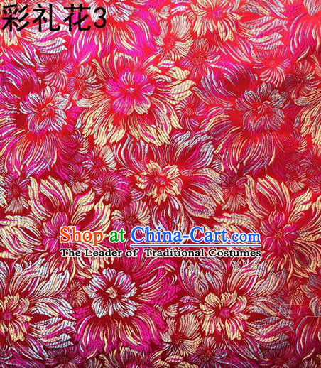 Traditional Asian Chinese Handmade Embroidery Fireworks Satin Wedding Tang Suit Rosy Silk Fabric, Top Grade Nanjing Brocade Ancient Costume Hanfu Tibetan Clothing Cheongsam Cloth Material