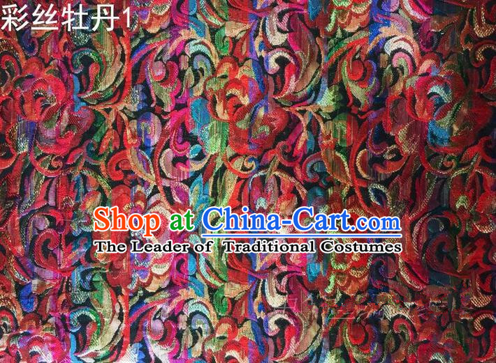 Traditional Asian Chinese Handmade Printing Gold Wire Roses Satin Wedding Tang Suit Silk Fabric, Top Grade Nanjing Brocade Ancient Costume Hanfu Tibetan Clothing Cheongsam Cloth Material