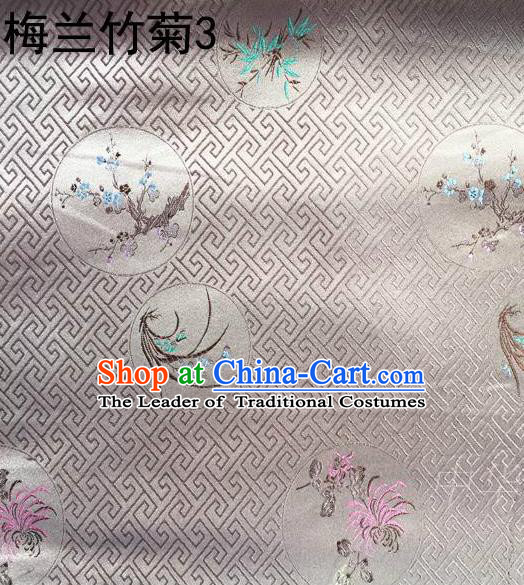 Traditional Asian Chinese Handmade Printing Plum Blossoms Orchid Bamboo and Chrysanthemum Satin Tang Suit Grey Fabric, Nanjing Brocade Ancient Costume Hanfu Cheongsam Cloth Material
