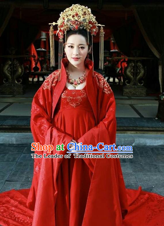 Asian Chinese Traditional Ming Dynasty Imperial Princess Wedding Costume and Headpiece Complete Set, China Elegant Hanfu Bride Embroidery Dress Clothing