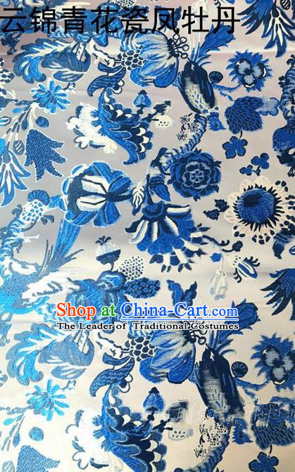 Traditional Asian Chinese Handmade Embroidery Blue and White Porcelain Silk Satin Tang Suit Fabric, Nanjing Brocade Ancient Costume Hanfu Cheongsam Cloth Material