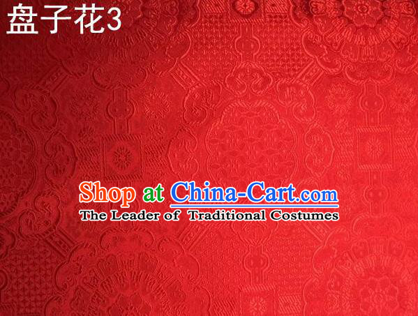 Traditional Asian Chinese Handmade Embroidery Flowers Mongolian Robe Silk Satin Tang Suit Red Fabric, Nanjing Brocade Ancient Costume Hanfu Cheongsam Cloth Material