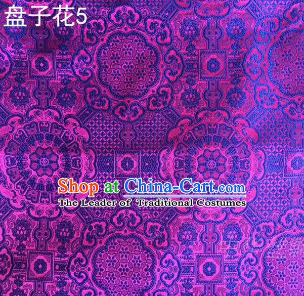 Traditional Asian Chinese Handmade Embroidery Flowers Mongolian Robe Silk Satin Tang Suit Purple Fabric, Nanjing Brocade Ancient Costume Hanfu Cheongsam Cloth Material