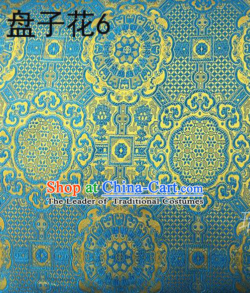 Traditional Asian Chinese Handmade Embroidery Flowers Silk Satin Tang Suit Blue Fabric, Nanjing Brocade Ancient Costume Hanfu Cheongsam Cloth Material