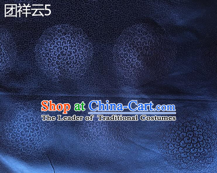 Traditional Asian Chinese Handmade Embroidery Round Auspicious Clouds Silk Satin Tang Suit Navy Mongolian Robe Fabric, Nanjing Brocade Ancient Costume Hanfu Cheongsam Cloth Material
