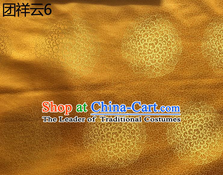 Traditional Asian Chinese Handmade Embroidery Round Auspicious Clouds Silk Satin Tang Suit Golden Mongolian Robe Fabric, Nanjing Brocade Ancient Costume Hanfu Cheongsam Cloth Material