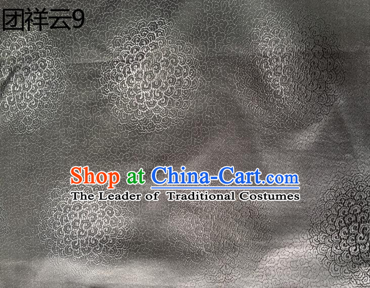Traditional Asian Chinese Handmade Embroidery Round Auspicious Clouds Silk Satin Tang Suit Grey Mongolian Robe Fabric, Nanjing Brocade Ancient Costume Hanfu Cheongsam Cloth Material
