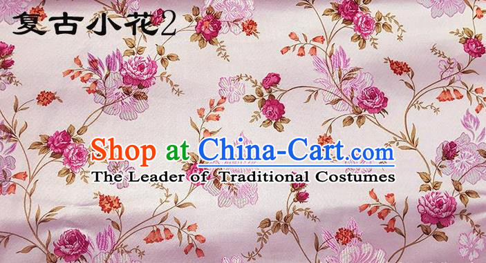 Traditional Asian Chinese Handmade Embroidery Roses Flowers Silk Satin Tang Suit Xiuhe Suit Pink Fabric, Nanjing Brocade Ancient Costume Hanfu Cheongsam Cloth Material