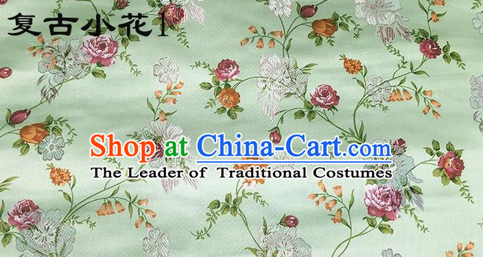 Traditional Asian Chinese Handmade Embroidery Roses Flowers Silk Satin Tang Suit Xiuhe Suit Green Fabric, Nanjing Brocade Ancient Costume Hanfu Cheongsam Cloth Material