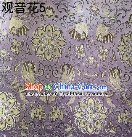 Traditional Asian Chinese Handmade Embroidery Flowers Pattern Silk Satin Tang Suit Mandarin Purple Fabric, Nanjing Brocade Ancient Costume Hanfu Cheongsam Cloth Material
