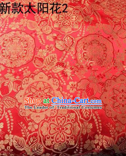 Traditional Asian Chinese Handmade Embroidery Flowers Pattern Silk Satin Tang Suit Mandarin Mongolian Robe Red Fabric, Nanjing Brocade Ancient Costume Hanfu Cheongsam Cloth Material