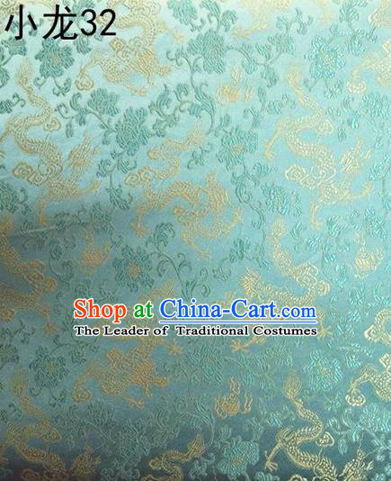 Traditional Asian Chinese Handmade Embroidery Flowers Pattern Silk Satin Tang Suit Mandarin Blue Fabric, Nanjing Brocade Ancient Costume Hanfu Cheongsam Cloth Material