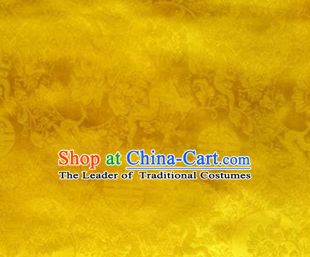 Traditional Asian Chinese Handmade Embroidery Flowers Pattern Silk Satin Tang Suit Mandarin Emperor Robe Golden Fabric, Nanjing Brocade Ancient Costume Hanfu Cheongsam Cloth Material