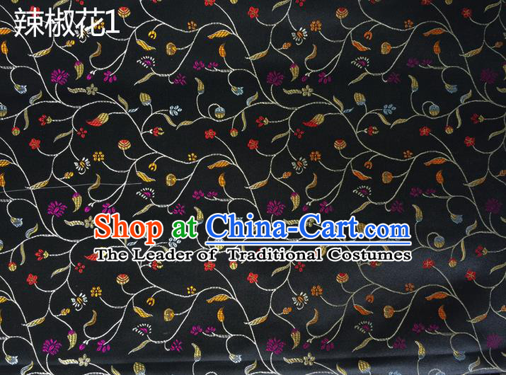 Traditional Asian Chinese Handmade Embroidery Pepper Flowers Pattern Silk Satin Tang Suit Black Fabric, Nanjing Brocade Ancient Costume Hanfu Cheongsam Cloth Material