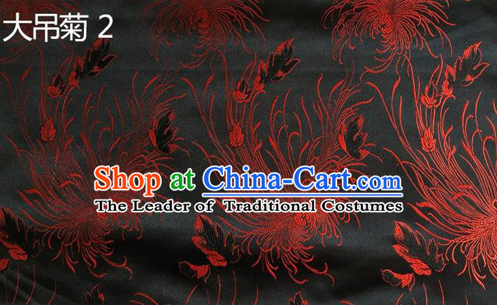 Traditional Asian Chinese Handmade Embroidery Chrysanthemum Flowers Silk Satin Tang Suit Black Tibetan Fabric, Nanjing Brocade Ancient Costume Hanfu Cheongsam Cloth Material
