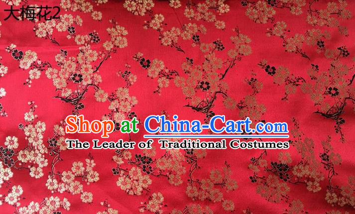 Traditional Asian Chinese Handmade Embroidery Plum Blossom Flowers Silk Satin Tang Suit Red Fabric, Nanjing Brocade Ancient Costume Hanfu Cheongsam Cloth Material