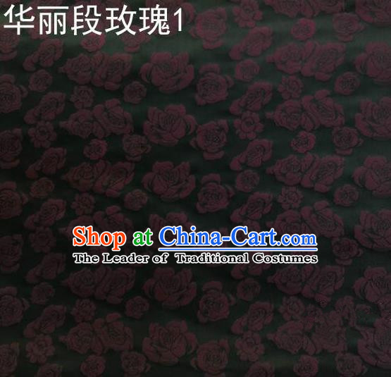 Traditional Asian Chinese Handmade Embroidery Roses Silk Satin Tang Suit Black Fabric, Nanjing Brocade Ancient Costume Hanfu Cheongsam Cloth Material