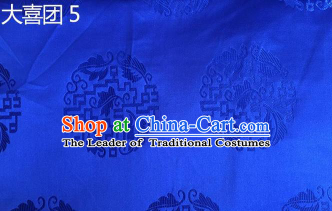 Traditional Asian Chinese Handmade Embroidery Silk Satin Tang Suit Tibetan Robe Blue Fabric, Nanjing Brocade Ancient Costume Hanfu Cheongsam Cloth Material