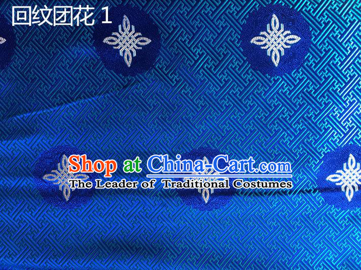 Traditional Asian Chinese Handmade Embroidery Chinese Knot Silk Satin Tang Suit Blue Fabric, Nanjing Brocade Ancient Costume Hanfu Cheongsam Cloth Material