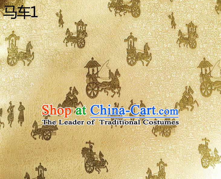 Traditional Asian Chinese Handmade Embroidery Carriage Silk Satin Tang Suit Golden Fabric, Nanjing Brocade Ancient Costume Hanfu Cheongsam Cloth Material