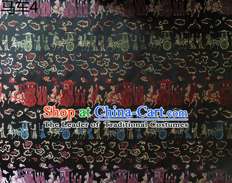 Traditional Asian Chinese Handmade Embroidery Carriage Silk Satin Tang Suit Black Fabric, Nanjing Brocade Ancient Costume Hanfu Cheongsam Cloth Material