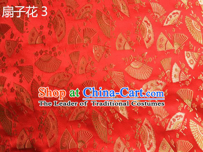 Traditional Asian Chinese Handmade Embroidery Fans Flowers Silk Satin Tang Suit Red Fabric, Nanjing Brocade Ancient Costume Hanfu Cheongsam Cloth Material