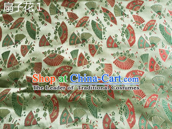 Traditional Asian Chinese Handmade Embroidery Fans Flowers Silk Satin Tang Suit Green Fabric, Nanjing Brocade Ancient Costume Hanfu Cheongsam Cloth Material