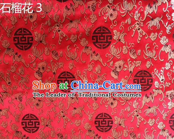 Traditional Asian Chinese Handmade Embroidery Pomegranate Flower Silk Satin Tang Suit Red Fabric, Nanjing Brocade Ancient Costume Hanfu Cheongsam Cloth Material