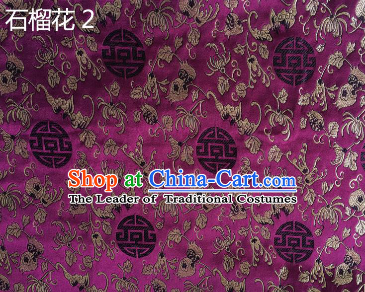 Traditional Asian Chinese Handmade Embroidery Pomegranate Flower Silk Satin Tang Suit Purple Fabric, Nanjing Brocade Ancient Costume Hanfu Cheongsam Cloth Material