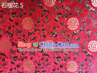Traditional Asian Chinese Handmade Embroidery Pomegranate Flower Silk Satin Tang Suit Pink Fabric, Nanjing Brocade Ancient Costume Hanfu Cheongsam Cloth Material