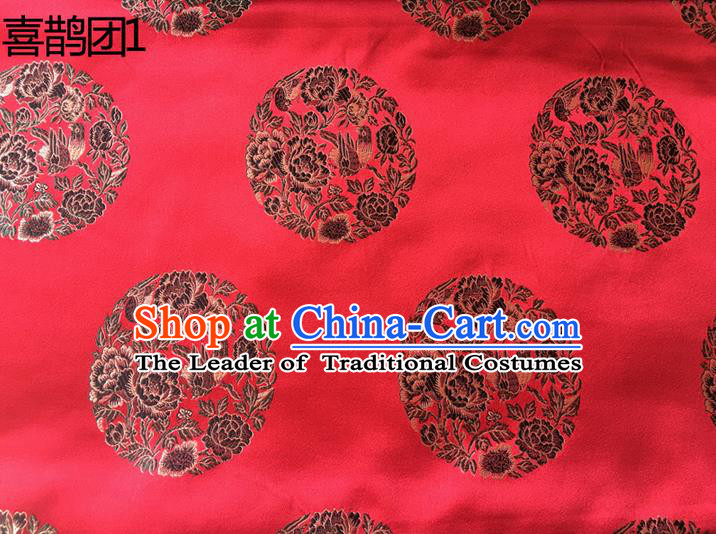 Traditional Asian Chinese Handmade Embroidery Peony Magpie Silk Satin Tang Suit Red Fabric, Nanjing Brocade Ancient Costume Hanfu Cheongsam Cloth Material