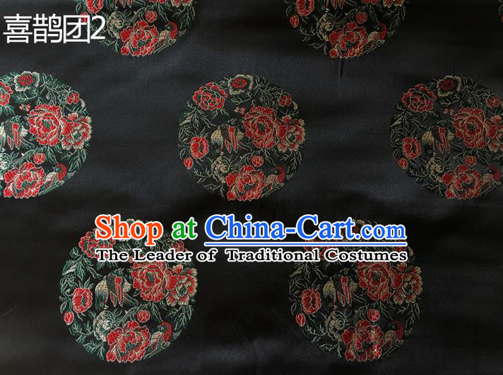 Traditional Asian Chinese Handmade Embroidery Peony Magpie Silk Satin Tang Suit Black Fabric, Nanjing Brocade Ancient Costume Hanfu Cheongsam Cloth Material