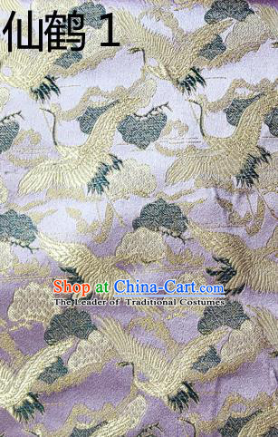 Traditional Asian Chinese Handmade Embroidery Cranes Kimono Silk Satin Tang Suit Lilac Fabric, Nanjing Brocade Ancient Costume Hanfu Cheongsam Cloth Material