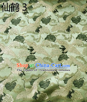 Traditional Asian Chinese Handmade Embroidery Cranes Kimono Silk Satin Tang Suit Green Fabric, Nanjing Brocade Ancient Costume Hanfu Cheongsam Cloth Material
