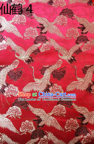 Traditional Asian Chinese Handmade Embroidery Cranes Kimono Silk Satin Tang Suit Red Fabric, Nanjing Brocade Ancient Costume Hanfu Cheongsam Cloth Material