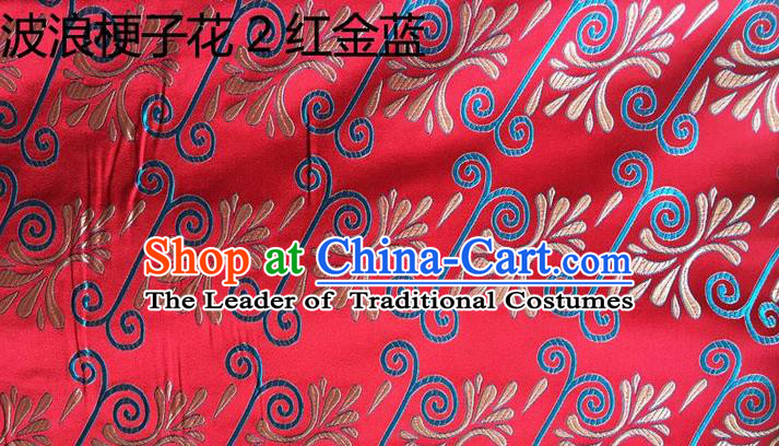 Traditional Asian Chinese Handmade Embroidery Wave Stem Flowers Silk Satin Tang Suit Red Fabric, Nanjing Brocade Ancient Costume Hanfu Cheongsam Cloth Material