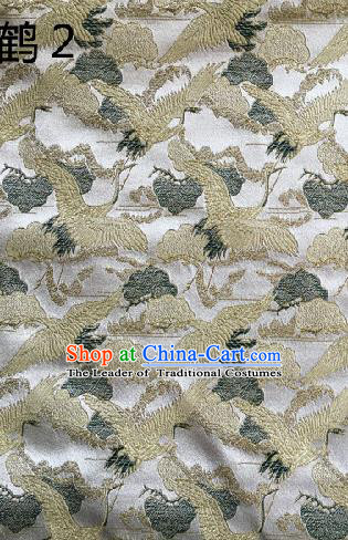 Traditional Asian Chinese Handmade Embroidery Cranes Kimono Silk Satin Tang Suit White Fabric, Nanjing Brocade Ancient Costume Hanfu Cheongsam Cloth Material