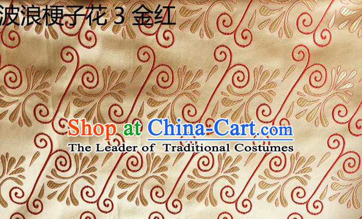 Traditional Asian Chinese Handmade Embroidery Wave Stem Flowers Silk Satin Tang Suit Golden Fabric, Nanjing Brocade Ancient Costume Hanfu Cheongsam Cloth Material