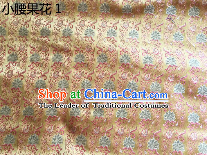 Traditional Asian Chinese Handmade Embroidery Paisley Flowers Silk Satin Tang Suit Golden Fabric, Nanjing Brocade Ancient Costume Hanfu Cheongsam Cloth Material