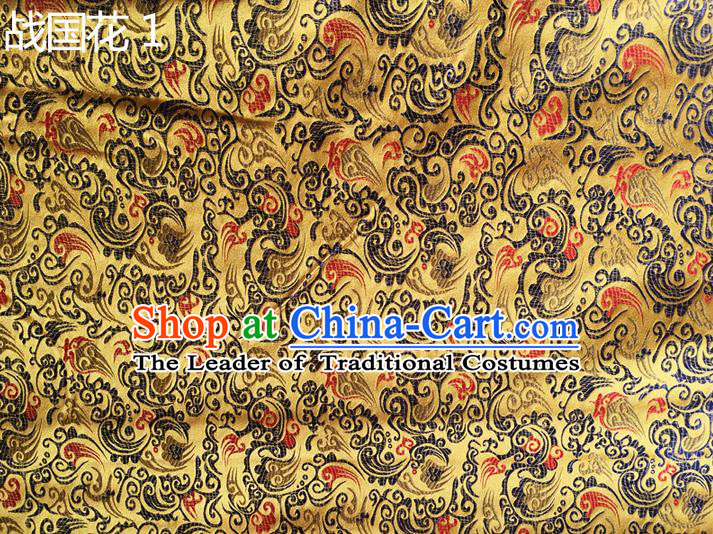 Traditional Asian Chinese Handmade Embroidery Flowers Silk Satin Tang Suit Golden Fabric, Nanjing Brocade Ancient Costume Hanfu Cheongsam Cloth Material
