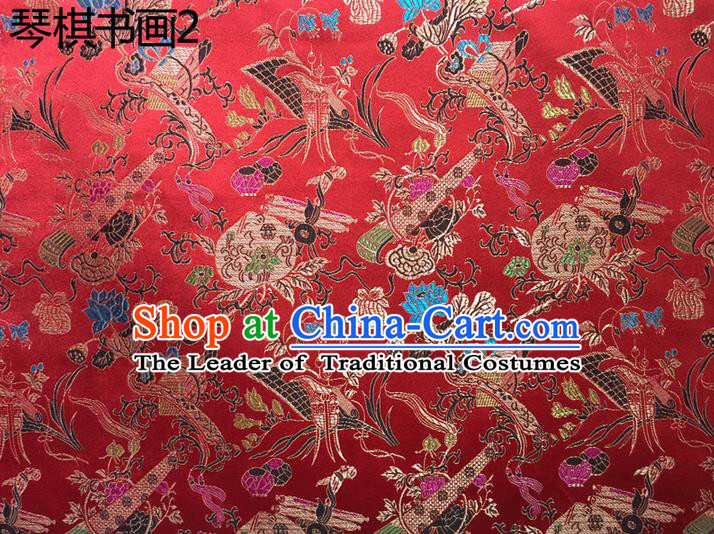 Traditional Asian Chinese Handmade Embroidery Wine Bottles Silk Satin Tang Suit Red Fabric Drapery, Nanjing Brocade Ancient Costume Hanfu Cheongsam Cloth Material