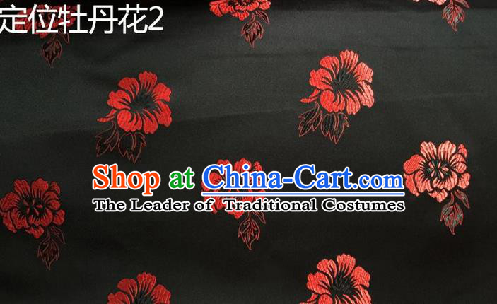 Traditional Asian Chinese Handmade Embroidery Red Peony Flowers Silk Satin Tang Suit Black Fabric, Nanjing Brocade Ancient Costume Hanfu Cheongsam Cloth Material