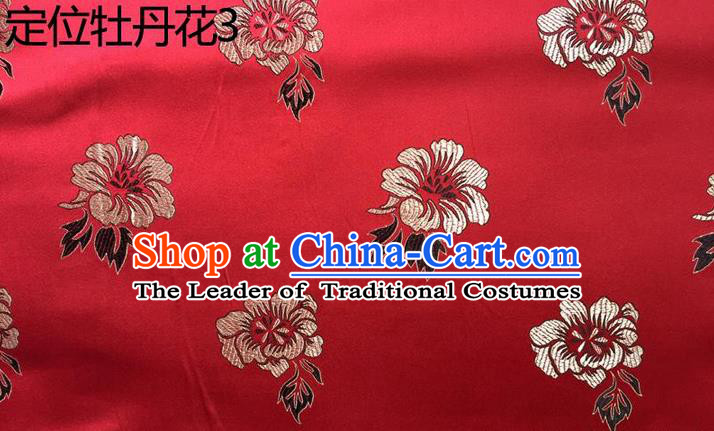 Traditional Asian Chinese Handmade Embroidery Peony Flowers Silk Satin Tang Suit Red Fabric, Nanjing Brocade Ancient Costume Hanfu Cheongsam Cloth Material